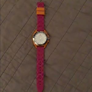 Pink and orange silicone Coach watch